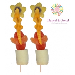 Brocheta doble Flor Naranja